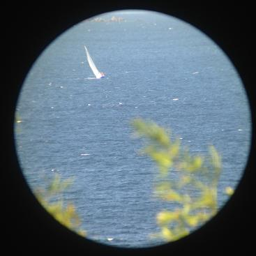 People are watching us racing! This is Una's photo taken through a telescope.